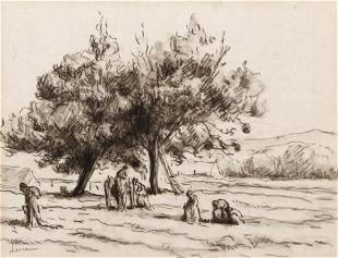 Maximilien Luce charcoal drawing Harvesters in a Field