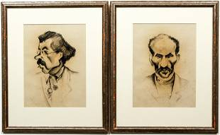 Pair of Issachar Ber Ryback Charcoal Drawings