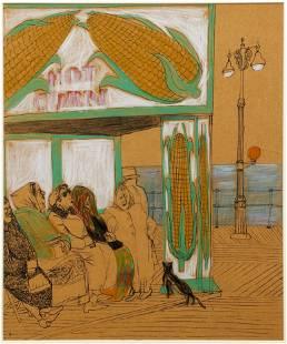Henry Koerner 1940's drawing Hot Corn