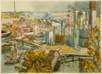 Henry Koerner Pittsburgh Handcolored Etching