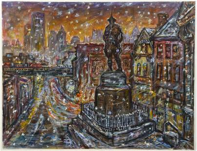 Bob Qualters Doughboy Square ptg 1992 Downtown