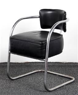 Tubular Club Chair with black leather upholstery