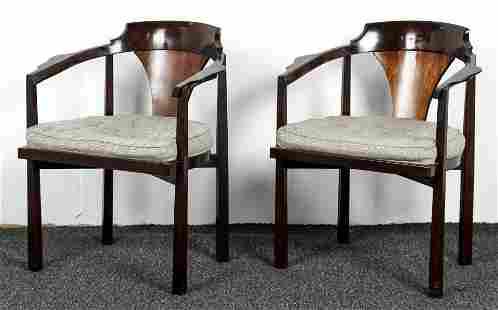 Pair DUNBAR Side Horsehoe Arm Chairs