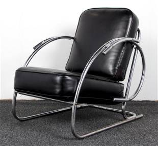 Warren McArthur style chrome and leather Club Chair