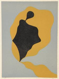 Jean Arp Color Abstract Woodcut on Paper Signed