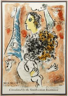Marc Chagall Signed Poster Eiffel Tower and Figures