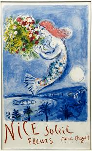 Marc Chagall Bay of Angels Nice Soleil Fleurs Poster