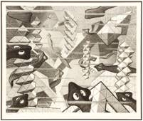 MC Escher Flatworms Signed Lithograph on Paper