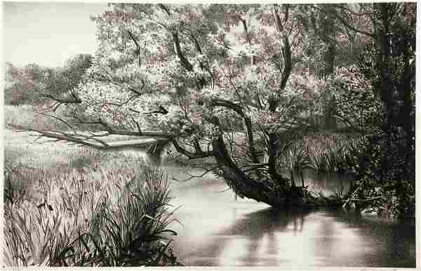 Stow Wengenroth 1945 lithograph The Brook (New Hope