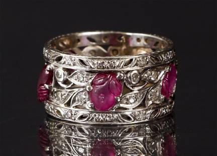 Antique Platinum Diamond Ruby Ring