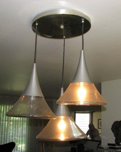 7: German Modern Blown Glass Chandelier