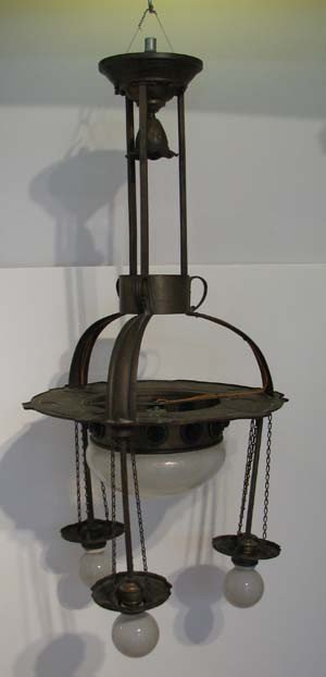 8: Arts and Crafts Brass Chandelier with Colored Glass