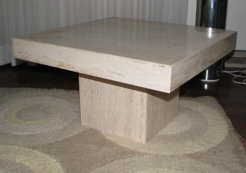 18: Modern Travertine Marble Low Display Table