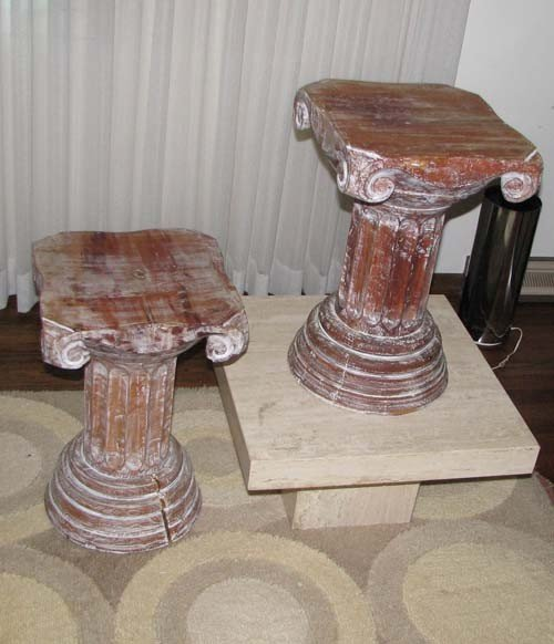 22: Pair of Ionic Column Pedestal Tables or Stools