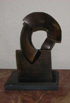 Ron Bennet Bronze Broken Sphere Sculpture