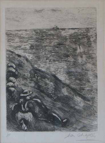 171: Marc Chagall Fables Le Berger et le Mer Etching