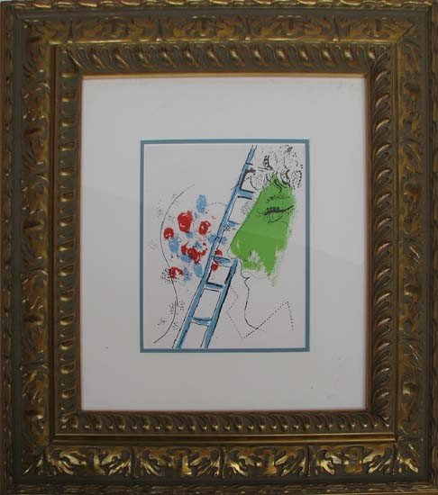 172: Marc Chagall Ladder Color Lithograph