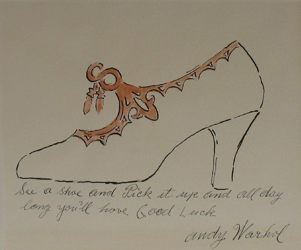354: Andy Warhol See a Shoe Transfer Print with Handcol