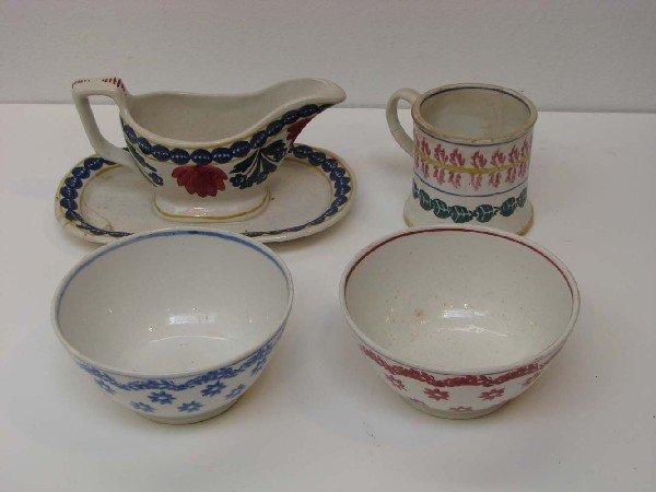 503: 4 Assorted Stick Spatter ceramics