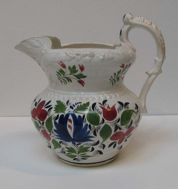 504: Large Molded Pitcher with Stick Spatter decoration