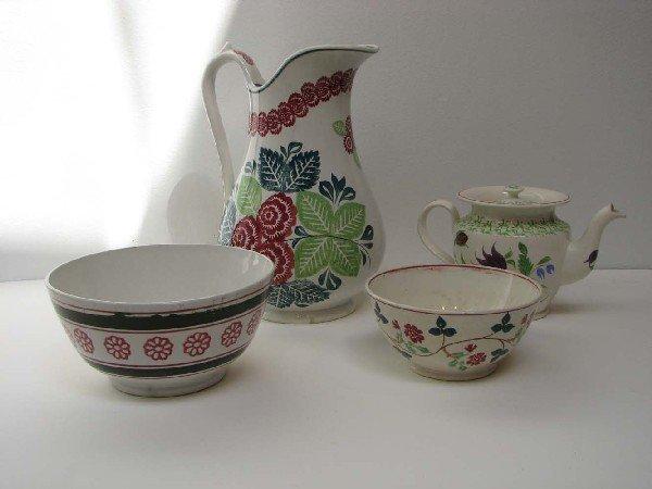 505: Four Assorted Stick Spatter ceramics including Sta