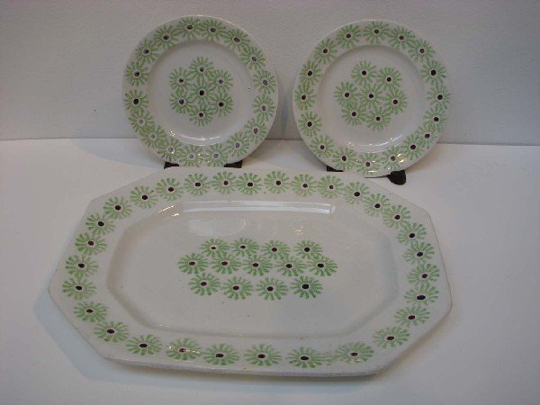 507: Three Pcs of Stick Spatter with Green Wheel Patter