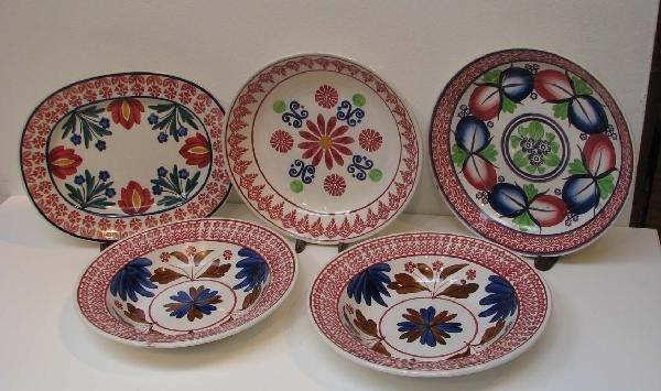 512: Assorted Stick Spatter Bowls and Heatherware Platt