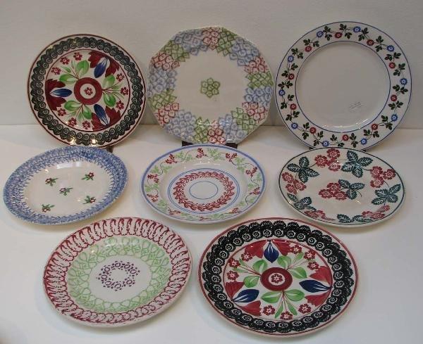 513: 8 Assorted Stick Spatter Plates inc Adams, Elsmore