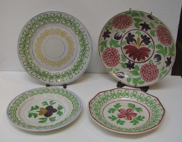 514: Stick Spatter Bowl & 3 Plates inc Barlow bow patte