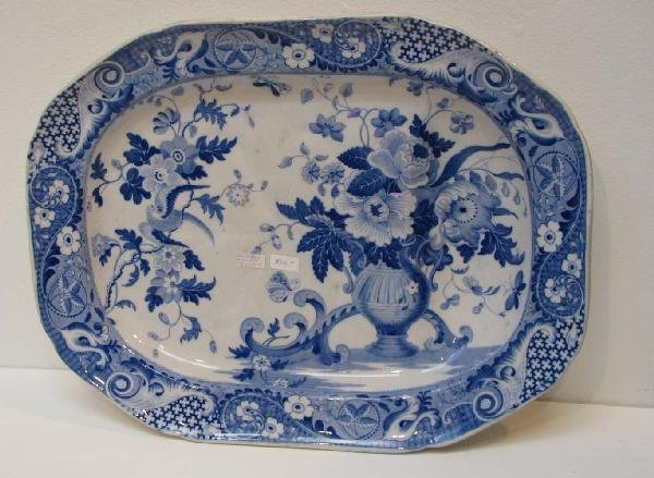 517: Blue Transferware Well and Tree platter