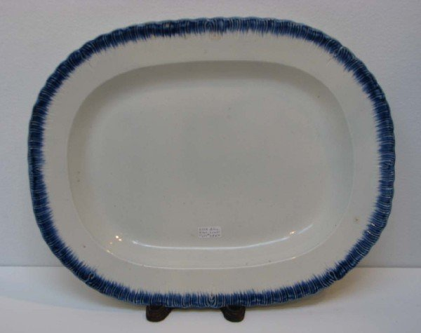 518: Leeds Type Platter with Blue Feather Edge