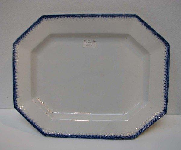 520: Hexigonal Shaped Best Goods Platter w Blue Feather