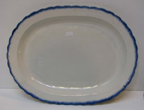 521: Oval Shaped Blue Feather Edge Platter