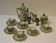 828: Italian Glazed Ceramic Expresso Set w/pair of mini