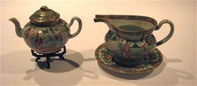 955: Small Early Famille Rose Teapot with Pitcher and s