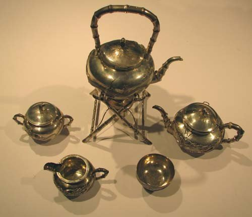 971: 5pc Chinese Silver Tea Set with Stylized Dragon De
