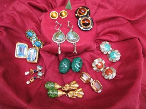 8: Asst. gold/gold fill gemstone/faux gemstone earrings