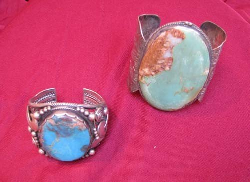 11: Two Sterling Cuffs with Large Stones
