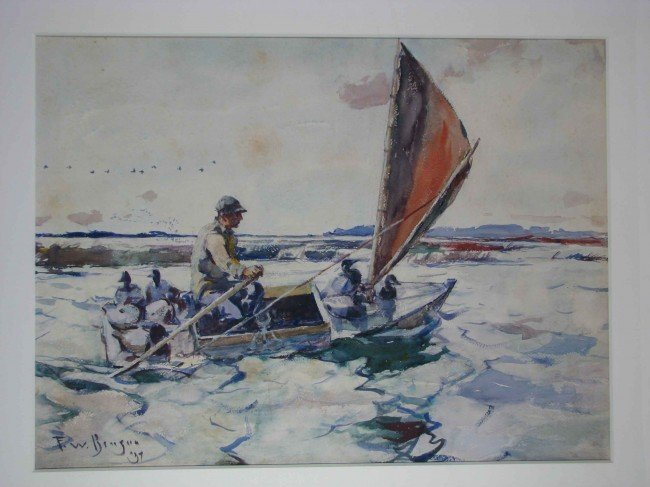 "30: Frank W. Benson watercolor ""Setting Out with Decoys"