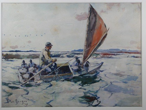 "30: Frank W. Benson watercolor ""Setting Out with Decoys - 3"