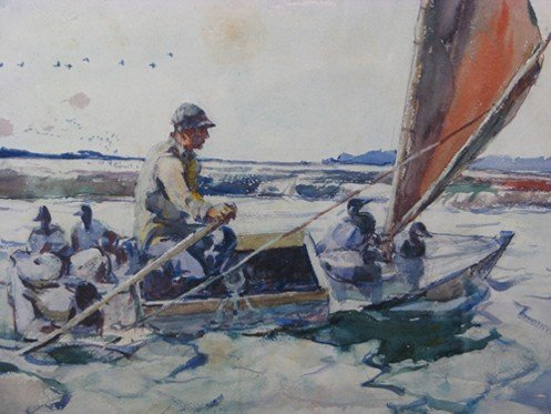 "30: Frank W. Benson watercolor ""Setting Out with Decoys - 4"