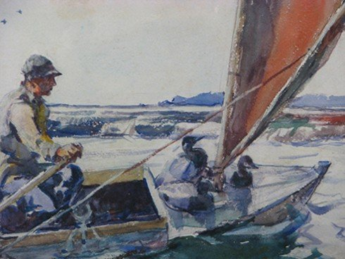 "30: Frank W. Benson watercolor ""Setting Out with Decoys - 5"