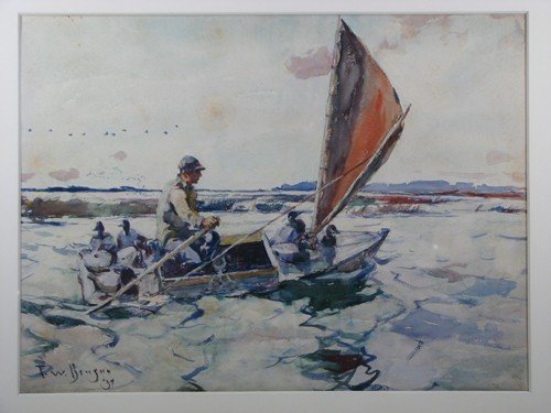 "30: Frank W. Benson watercolor ""Setting Out with Decoys - 6"