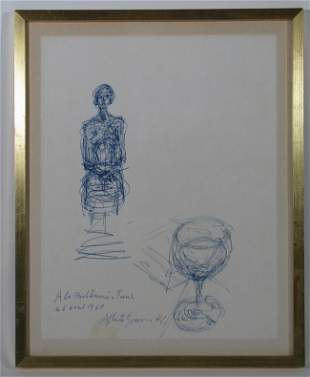 221: Alberto Giacometti Pen and Ink Femme Assise and Gl