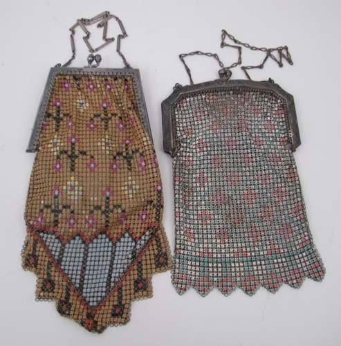 502: Pair of silver enamel beaded bags with abstracted