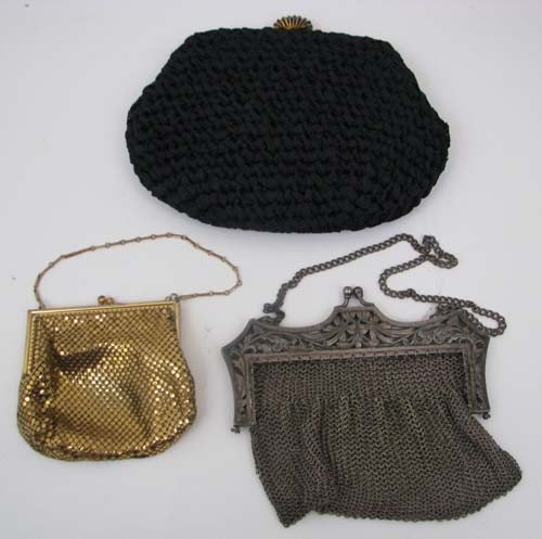 507: Three metal mesh purses, one German silver