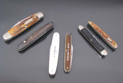 508: Assorted pen knives. Sterling, mother of pearl