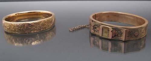 517: 2 antique style gold bangle bracelets