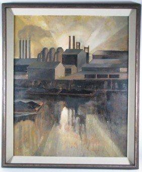 Harry Scheuch Painting Rare Industrial Landscape