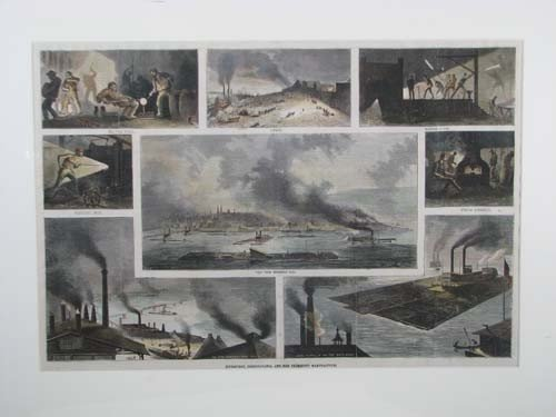 655: Four Handcolored Engravings of Pittsburgh Industry